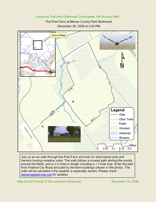 Map of 2008 Walk in Mercer County Park Northwest